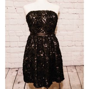 JILL STUART Black Lace Rose Strapless Dress